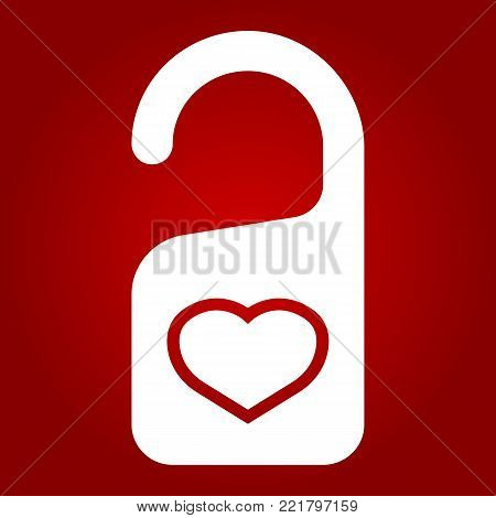 Do not disturb with heart glyph icon, valentines day and romantic, door hanger sign vector graphics, a solid pattern on a red background, eps 10.
