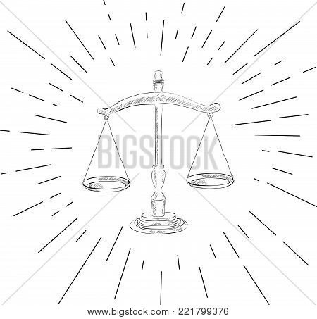 Symbol of Justice - Icon of Law Scales Concept -  Vector Illustration