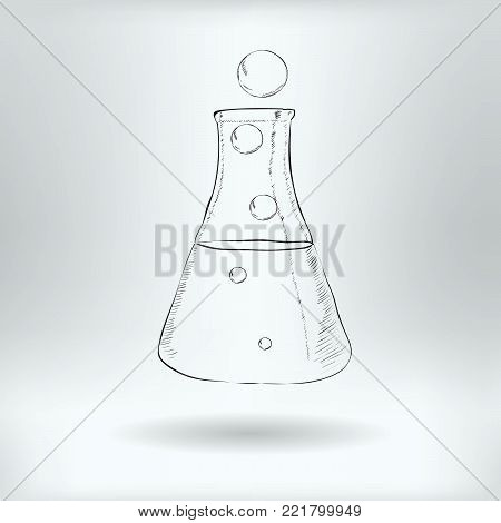 Symbol of Chemical Flask  - Transmutation, Reaction in Glass Flask Icon Concept -  Vector Illustration