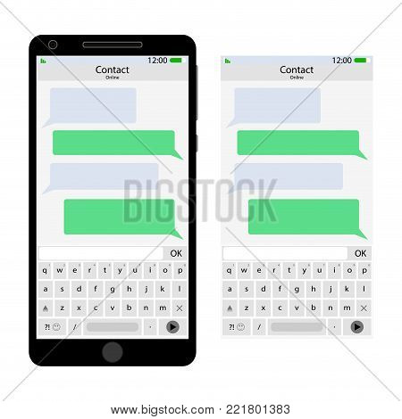 Messenger interface for smartphone. Messenger for mobile phone, chat and message in smartphone screen interface. Vector illustration