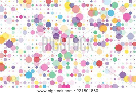 Colorful dotted bckground with circles, dots, point different size, scale Confetti pattern. Design element for web banners, posters, cards, wallpapers, sites Black and white color Vector illustrtion