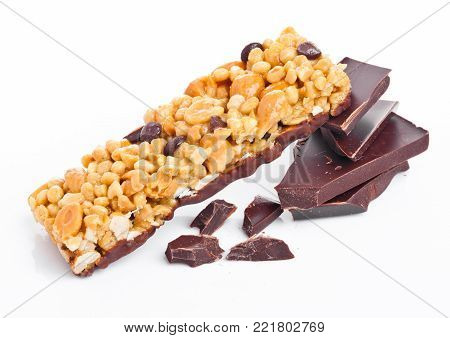 Chocolate protein cereal energy bar dark chocolate on white background