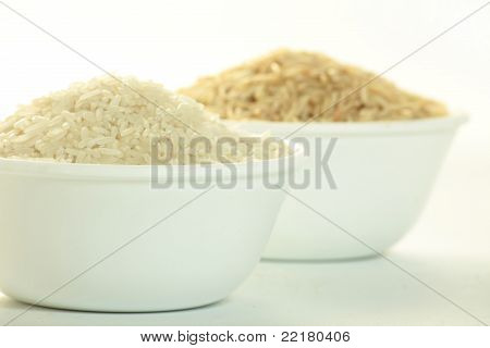 brown rice and white rice