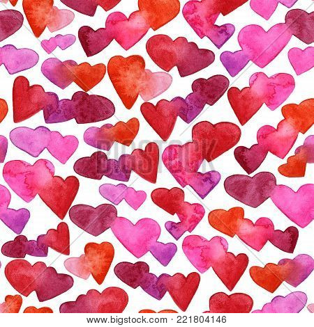 Seamless pattern with red, pink and violet watercolor hearts. romantic design. Isolated on white background. Hand painted brush elements. Modern and teen. Love sign. Valintine Day texture