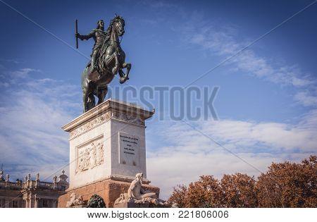 Monument of King Felipe IV on Plaza de Oriente in Madrid, Spain. Was opend in 1843