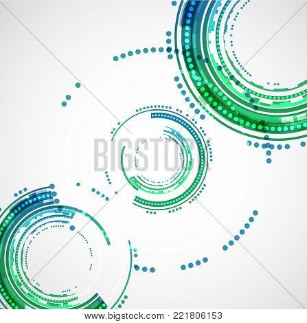 Abstract color technology circles background. Vector illustration