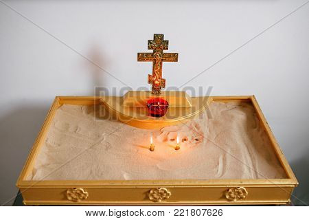 candles and lamp close-up. Interior Of Orthodox Church In Easter. baby christening. Ceremony in Christian .