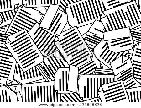 Paperwork documents abstract stylized, seamless texture pattern, vector illustration black and white, horizontal background