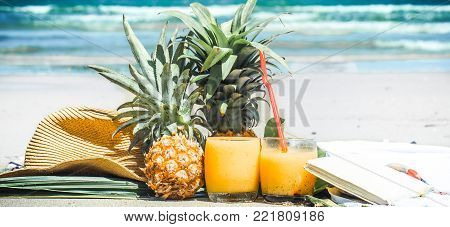 Summer Drinks With Fruit On The Beach, Exotic Still Life
