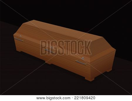 Casket - massive, solid, light brown wooden coffin - three-dimensional isolated vector illustration on black background.