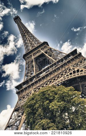 HDR view of Eiffel Tower in Paris.