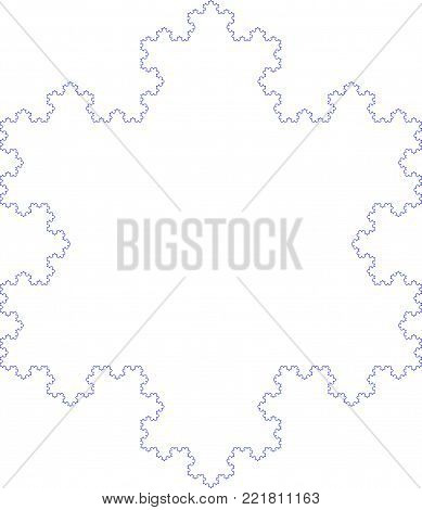 Flat Vector Computer Generated   Koch Snowflake L-system Fractal - Generative Art