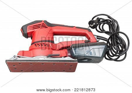 Electric orbital sandpaper tool in case for home handyman use, isolated on white background with clipping path