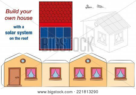 House template with solar panel collectors on the roof - photovoltaic technology cottage model - cut out, fold and glue - cut-out sheet for promotion of ecological education.