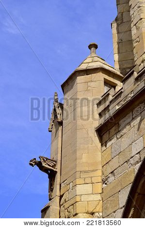 York, Yorkshire, England, UK - May 22, 2016 : Gargoyle on the historical Church of England St Mary