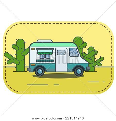 Cute retro food truck illustration in flat cartoon vector style. Little blue green fast food restaurant van in desert with cacti. Sign, banner or icon