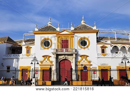 SEVILLE,SPAIN- APRIL 4, 2015 :Plaza de los Toros in Seville is one of the oldest and most important bullrings in the world. It dates from 1752-1881 and accommodates 14,000 spectators.