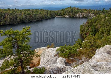 A scenic view of Lake Minnewaska in Ylster County New York.