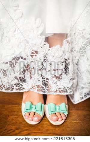 Bride's Shoes On Wedding Day