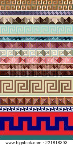 Ancient Greek Decorative Seamless Border Meander - Abstract Vector  Repeated Motif