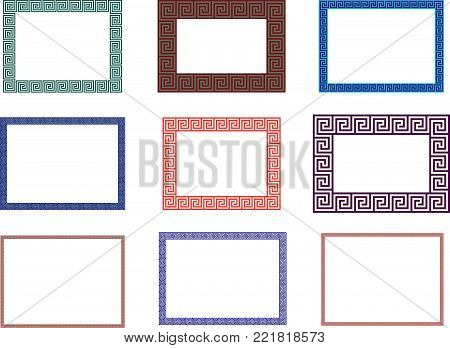 Ancient Greek Decorative Border Frame  Meander Pattern - Abstract Vector  Repeated Motif