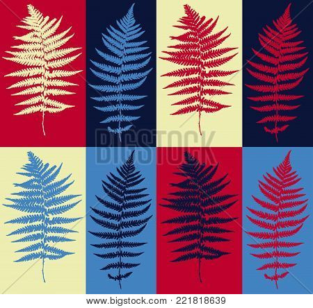 Pop Art Style Herbarium Collage - Vector Collection of Dried Fern Leaves