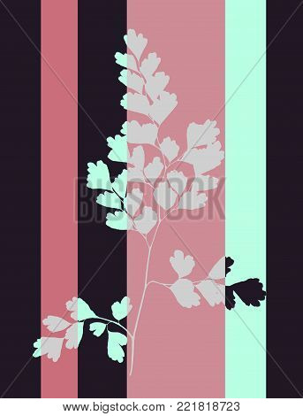 Pop Art  Style Tabby Herbarium Collage - Vector Dried Maidenhair Leaf