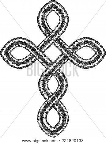 Celtic Halftone Stippled Cross - Vector Ancient Pagan Scandinavian Sacred Knotwork X Symbol
