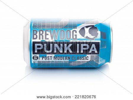 LONDON, UK - JANUARY 02, 2018: Aluminium can of Brewdog Punk Ipa beer post modern classic, from the Brewdog brewery on white background.