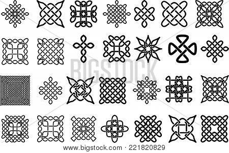 Set of Celtic Elements - Vector Ancient Pagan Scandinavian Sacred Knotwork Symbols