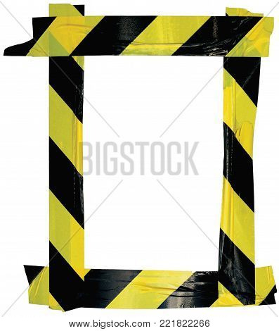 Yellow Black Caution Warning Tape Notice Sign Frame, Vertical Adhesive Sticker Background, Diagonal Hazard Stripes Signal Safety Attention Concept, Isolated Large Detailed Closeup, Old Aged Weathered Grunge Pattern