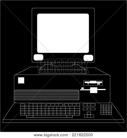 Black and white retro, vintage, old computer from the 80s drawn by a stroke on a black background.Vector illustration.