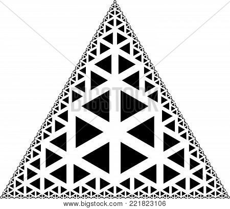 Fractal Triangle - Vector Black and White  Op Art