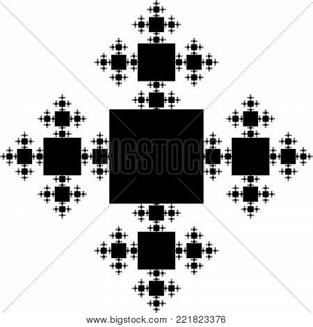 Flat Vector Computer Generated Snowflake Fractal - Generative Op Art