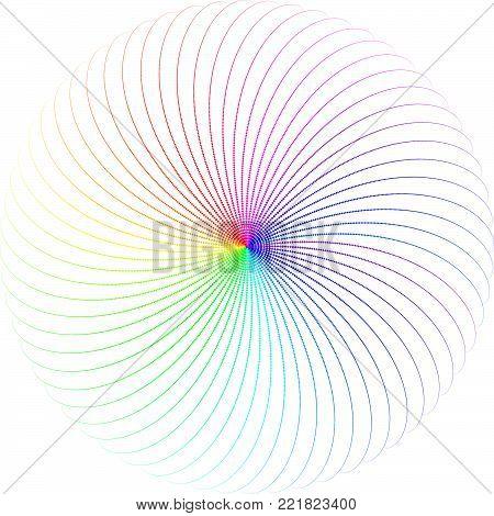 Vector Iridescent Phyllotaxis Vortex Round Shape - Generative Art