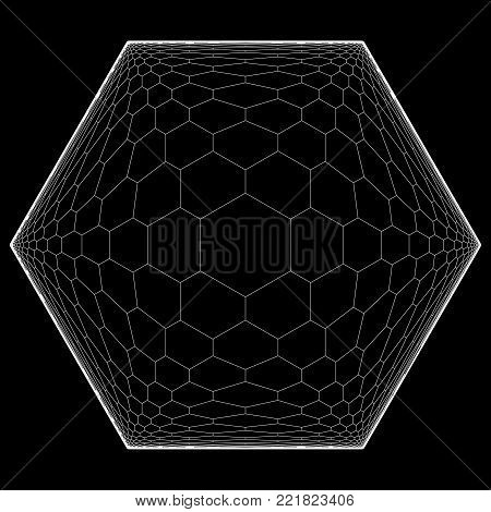 Honeycomb Displacement - Optical Illusion - Fractal Vector Illustration
