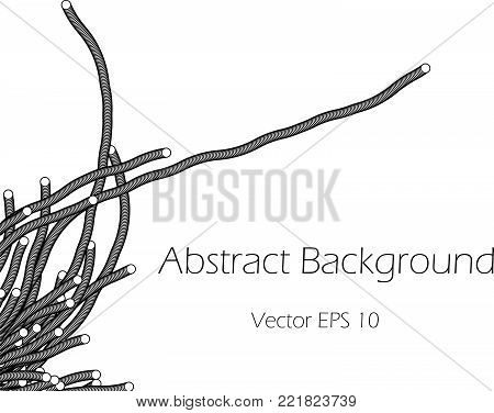 Abstract Vector Background  with Tentacles Black nd White Plexus