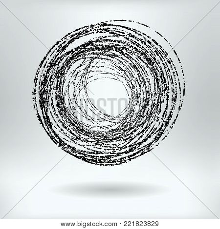 Vector Round Grunge Scribble Black and White Set