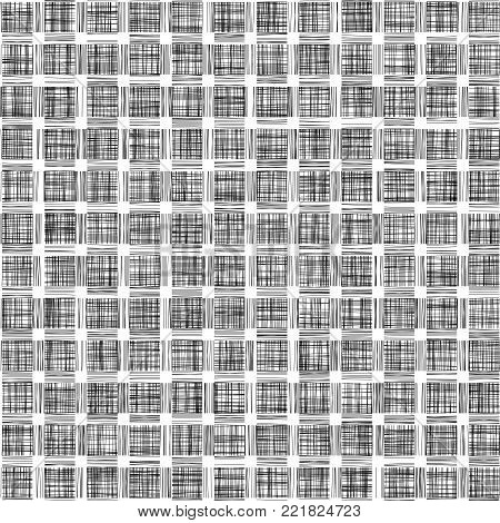 Black Checkered  Grunge Vector Black and White Background