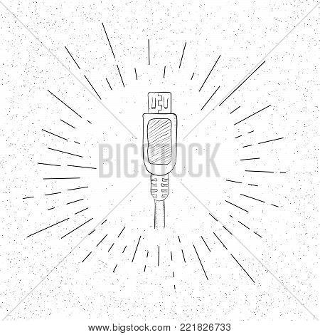 Hand Drawn Symbol of USB Plug - Doodle Vector Hatch Icon