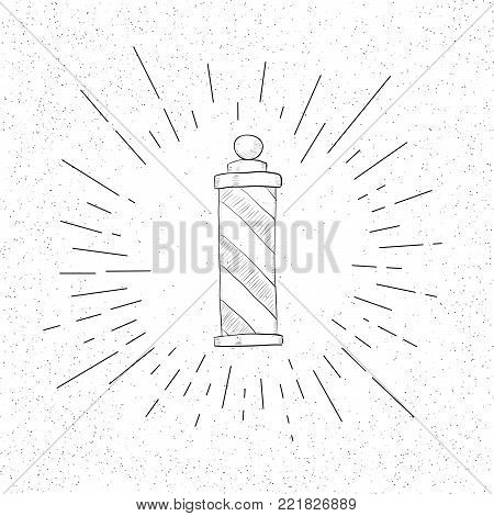 Hand Drawn Symbol of Hairdressing Salon - Vintage Striped Pole - Doodle Vector Hatch Icon