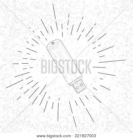 Hand Drawn Symbol of Flash Storage USB Memory Stick Drive  - Doodle Vector Hatch Icon