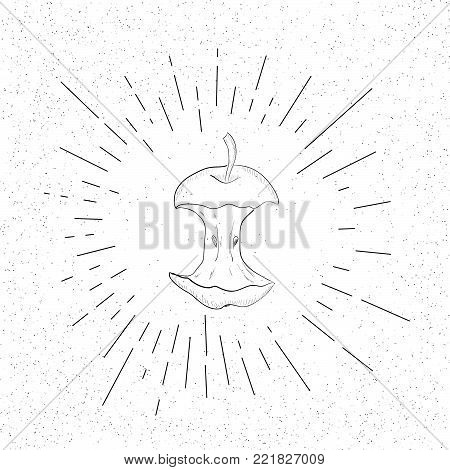 Hand Drawn Symbol of Aplle Stub, Eaten Core, Organic Waste - Doodle Vector Hatch Icon
