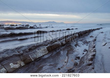 Serene Seascape In Barrika Beach, Basque Country, Spain.