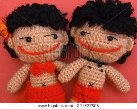 This is a barbarian wool doll, original barbarian was Semang (Negrito) live in southern Thailand.