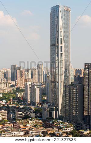 Chengdu, China - August 16, 2016 : Minyoun Royal Hotel building in downtown Chengdu