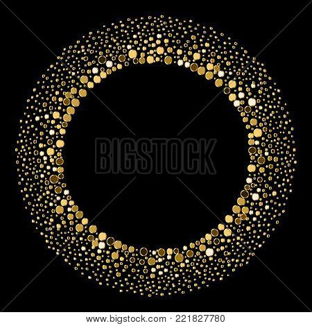 Vector Round Enchanting Gold Enchanting Grainy Frame