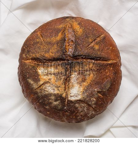 Homemade Sourdough Bread Made In Traditional Style During Easter Or Other Christian Holidays With A