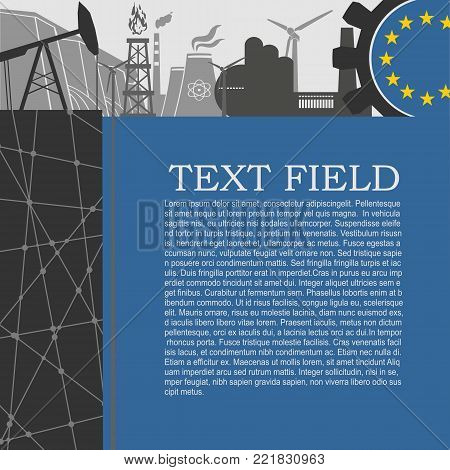 Energy and Power icons set. Sustainable energy generation and heavy industry. Field for text. Modern brochure, report or leaflet design template. Flag of European Union in gear