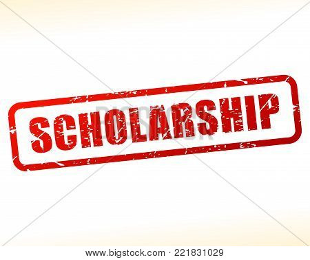 Illustration of scholarship text stamp concept design